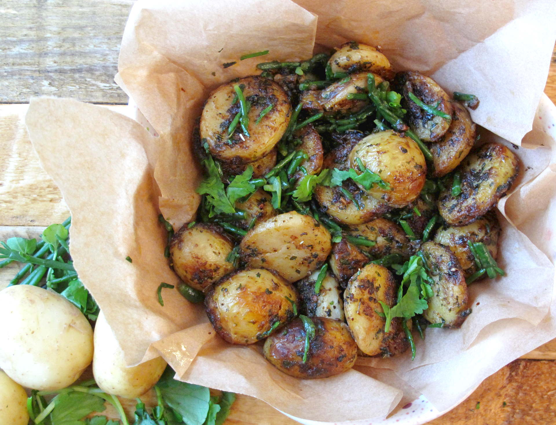 Garlic & Herb Sautéed Potatoes With Samphire